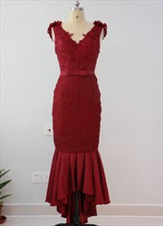 Burgundy Ankle Length Dropped Waist Formal Dress With Flower Strap