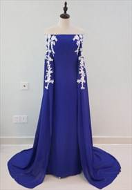 Royal Blue Off The Shoulder Lace Embellished Evening Dress With Cape