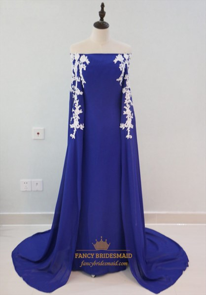 Royal Blue Off The Shoulder Lace Embellished Evening Dress With Cape