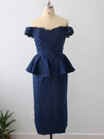 Royal Blue Off The Shoulder Peplum Tea Length Sheath Lace Beaded Dress