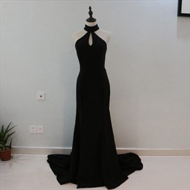 Elegant Black Sleeveless Front Keyhole Long Prom Dress With Cutouts