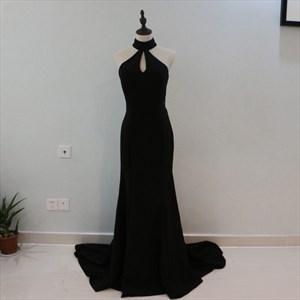Elegant Black Sleeveless Front Keyhole Long Prom Dress With Cutouts
