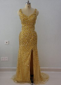 Sleeveless Beaded Embellished Floor Length Prom Dress With Front Split