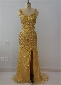 Sleeveless Beaded Embellished Floor Length Prom Dress With Front Split