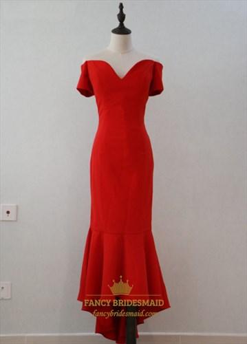 Red Off Shoulder Short Sleeve Drop Waist High Low Mermaid Prom Dress