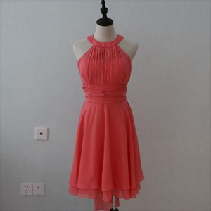 Coral A-Line Short Sleeveless Chiffon Bridesmaid Dress With Waistband