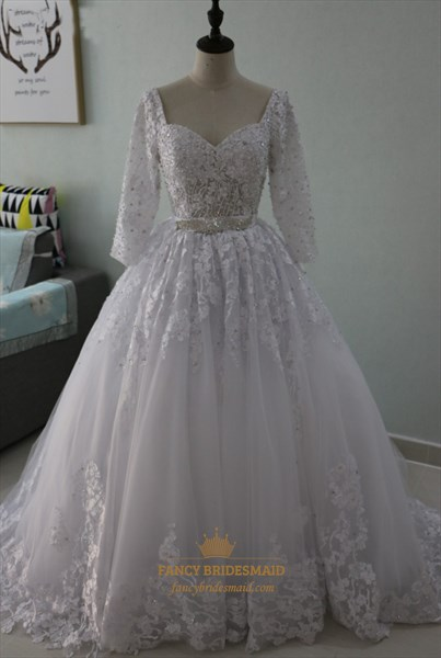 Sweetheart Lace Applique A-Line Wedding Dress With 3/4 Length Sleeves