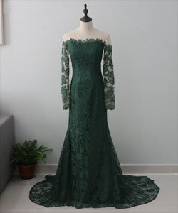 Hunter Green Long Sleeve Mermaid Lace Prom Dress With Sheer Neckline