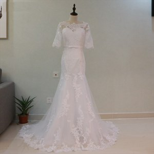 Half Sleeve Floor Length Mermaid Wedding Dress With Lace Embellished