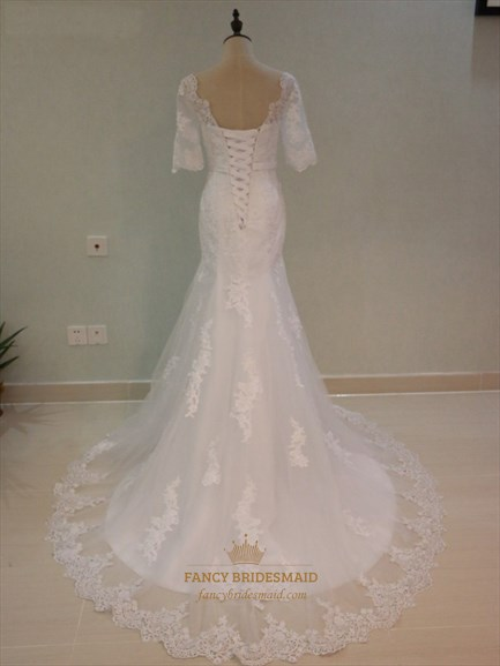 Half Sleeve Floor Length Mermaid Wedding Dress With Lace Embellished