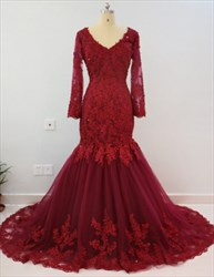 Burgundy V Neck Long Sleeve Mermaid Prom Dress With Lace Embellished