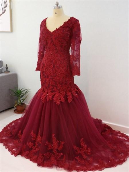 Burgundy V Neck Long Sleeve Mermaid Prom Dress With Lace Embellished