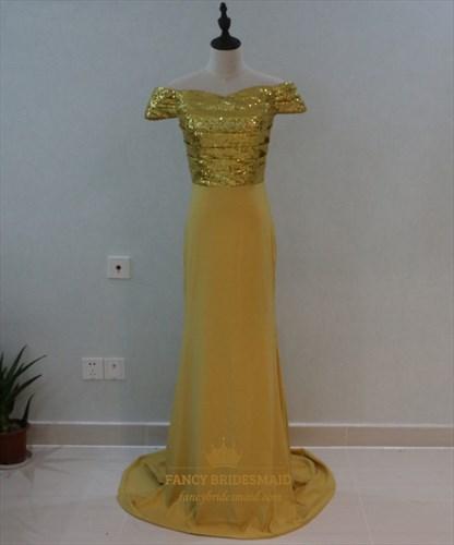 Elegant Off The Shoulder Sequin Bodice Floor Length Mermaid Prom Dress