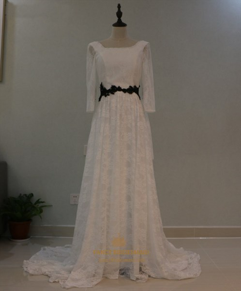 3/4 Sleeve Square Neck A-Line Lace Overlay Floor Length Wedding Dress