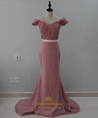 Off The Shoulder Lace Beaded Bodice Mermaid Floor Length Prom Dress