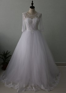 Illusion Half Sleeve A-Line Floor Length Tulle Wedding Dress With Lace