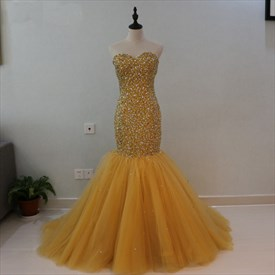 Strapless Beaded Bodice Tulle Bottom Dropped Waist Mermaid Prom Dress