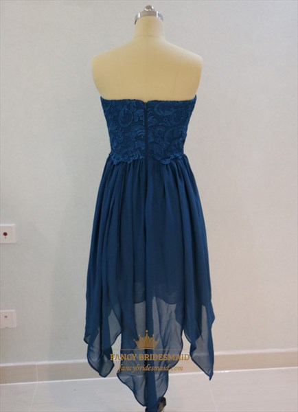 Short A-Line Royal Blue Strapless Lace Top Chiffon Bridesmaid Dress