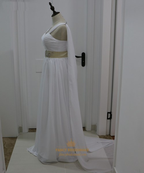 White Chiffon Sleeveless Floor Length Wedding Dress With Cape Train