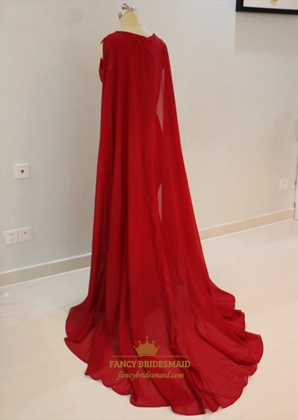 Elegant Burgundy Cap Sleeve Floor Length Prom Dress With Cape Train