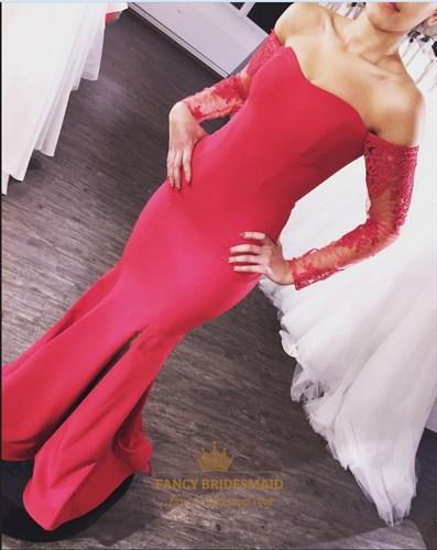 Off The Shoulder Sweetheart Split Mermaid Prom Dress With Long Sleeves