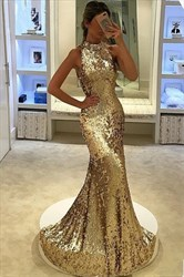 Sparkly Elegant Sequin Floor Length Sleeveless Mermaid Evening Dress