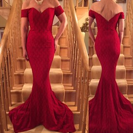 Elegant Burgundy Lace Off The Shoulder Floor Length Mermaid Prom Dress