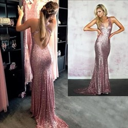 Simple Sleeveless V Neck Sequin Criss Cross Back Mermaid Prom Dress