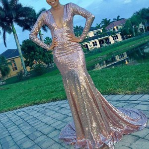 Long Sleeve Deep V Neck Mermaid Sequin Long Prom Dress With Open Back