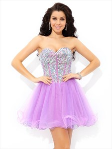 Cute Lilac Short Strapless A-Line Tulle Homecoming Dress With Sequins