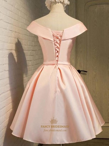 Lovely Simple Peach Knee Length A-Line V Neck Satin Homecoming Dress