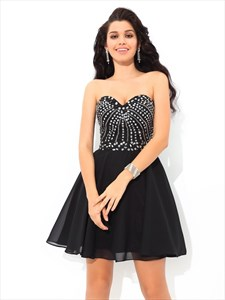 Black Short Strapless A-Line Chiffon Homecoming Dress With Beaded Top