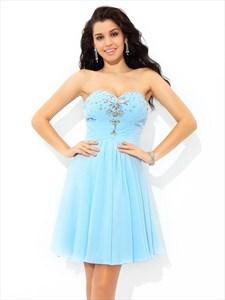 Light Blue A-Line Short Strapless Sweetheart Chiffon Homecoming Dress