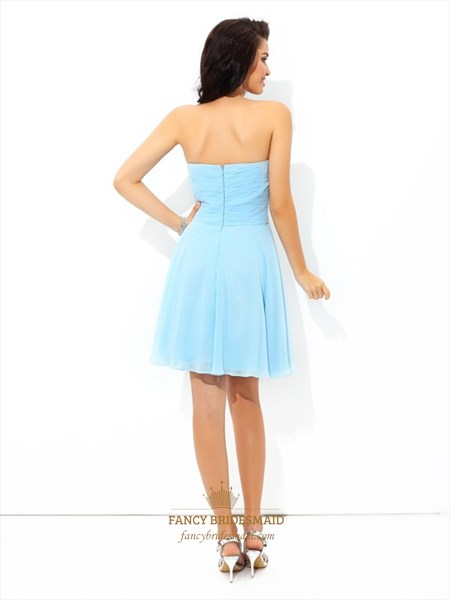 Light Blue A-Line Short Strapless Sweetheart Chiffon Homecoming Dress