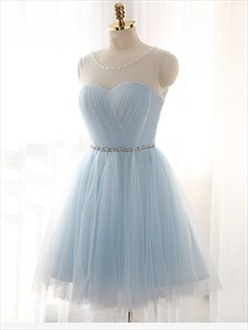 Light Blue Sleeveless Short Tulle Homecoming Dress With Sheer Neckline
