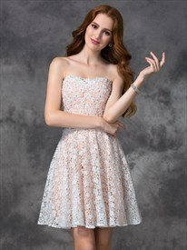Lovely A Line Strapless Short Lace Homecoming Dress With Beaded Waist