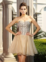 Short Strapless Sweetheart Beaded Bodice A-Line Organza Cocktail Dress