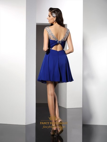 Royal Blue Cap Sleeve Jeweled Chiffon Short A-Line Homecoming Dress