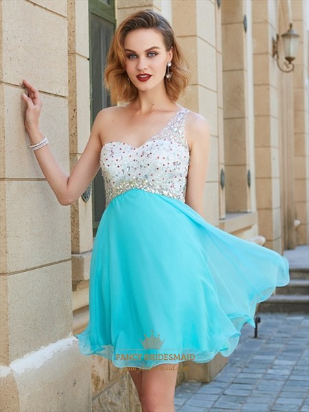 Aqua Blue One Shoulder A-Line Short Homecoming Dress With Beaded Top