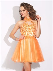High-Neck Sleeveless A-Line Short Lace Embellished Homecoming Dress