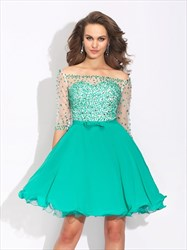 Turquoise Illusion Off The Shoulder Half Sleeve Short Homecoming Dress