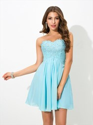 A-Line Short Strapless Ruched Empire Waist Chiffon Homecoming Dress