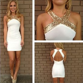 White Sleeveless Short Sheath Open Back Cocktail Dress With Sequins