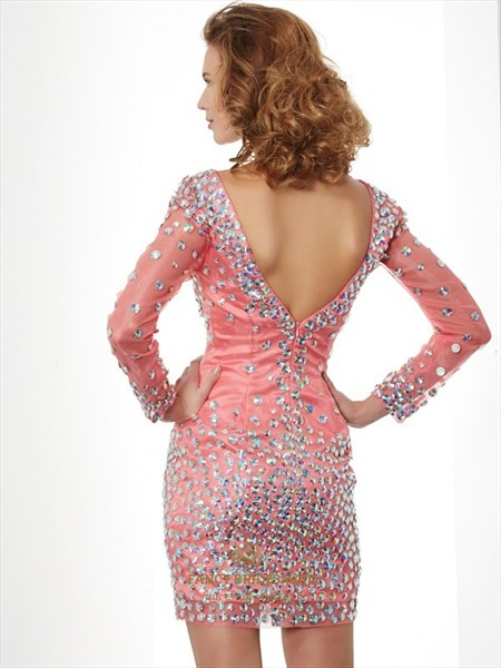 Illusion Deep V Neck Long Sleeve Beaded Tulle Bodycon Cocktail Dress