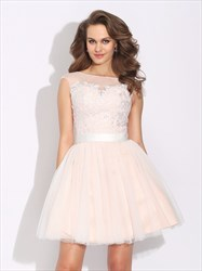 Illusion Cap Sleeve Knee Length A-Line Open Back Lace Homecoming Dress