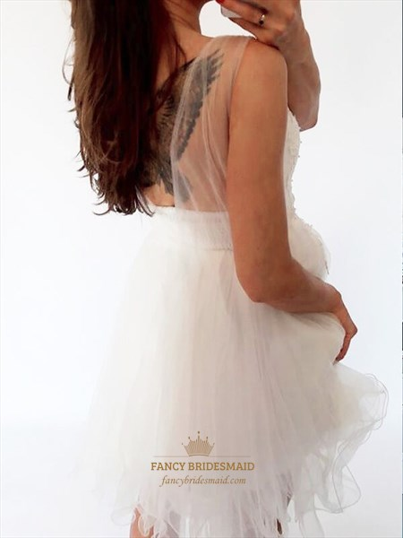 White Sheer Neckline Sleeveless Short Applique Tulle Homecoming Dress