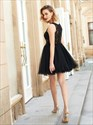 Black Sleeveless Short A-Line Tulle Homecoming Dress With Lace Bodice