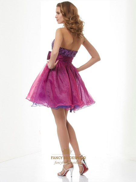 Purple Strapless Short Sequin Cocktail Dress With Detachable Overlay