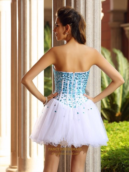 White Strapless Sweetheart Beaded Embellished Tulle Homecoming Dress