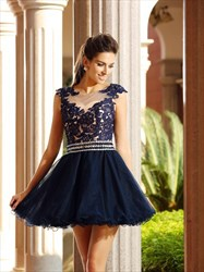 Navy Blue Illusion Cap Sleeve Lace Bodice A-Line Short Cocktail Dress